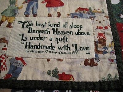 CROSS STITCHED QUILT LABEL. Absolutely lovely! I love the verse.