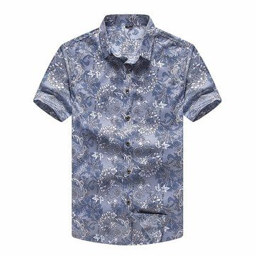 Designer Plus Size Summer Mens Printing Shirts Turn Down Collar Short Sleeved Cotton Shirts - NewChic