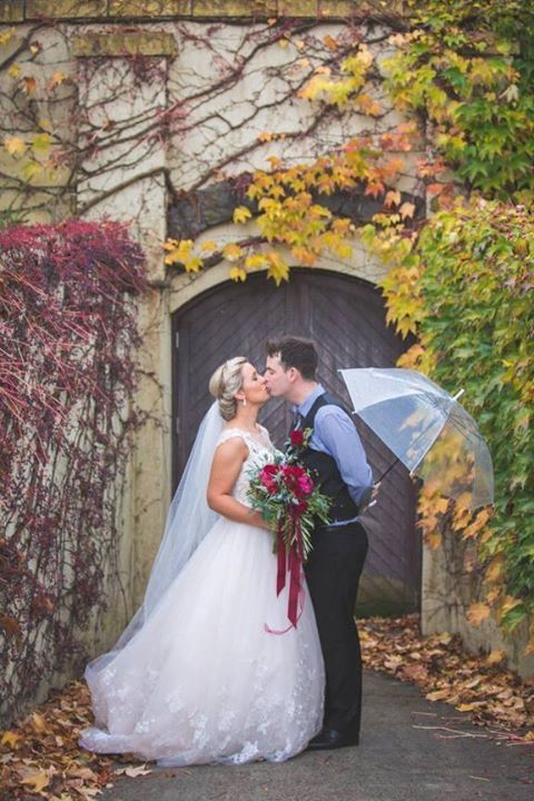 Bianca and James wedding day was a delicious tumble of rich red blooms and satin ribbon, blue gingham and bow ties, autumn colour and cute furry friends with thanks to Rei Bennett Photography.