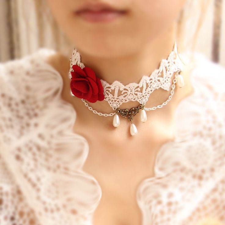 Gorgerous Gothic Lolita Red Rose Lace Choker necklace. The red is fantastic.