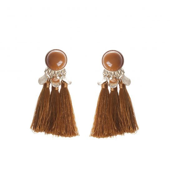 Orange Disc Tassel Earrings