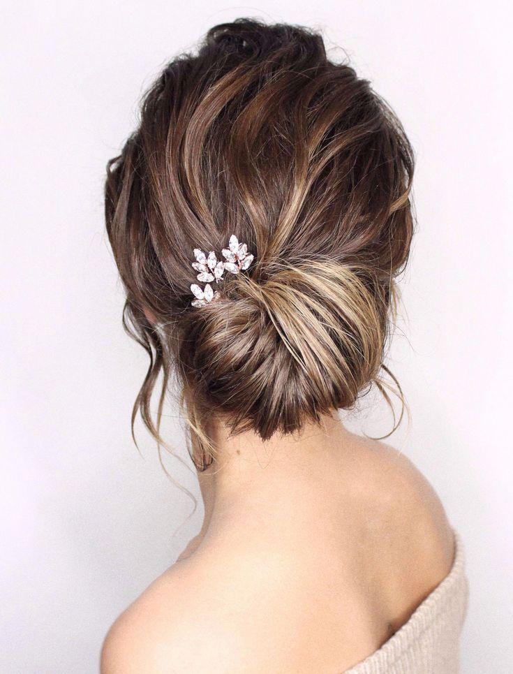 Swarovski crystal bridal hairpin trio in opal, rose gold, silver or gold - Lyra