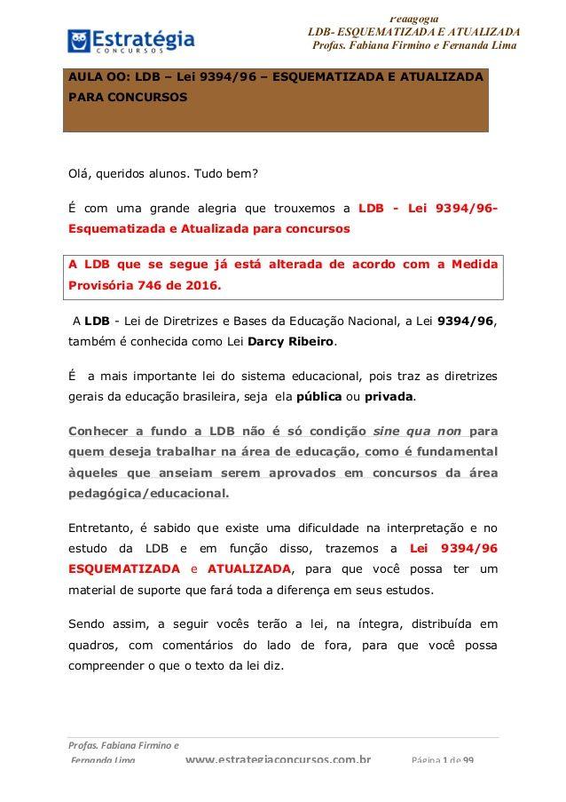 Pedagogia  LDB- ESQUEMATIZADA E ATUALIZADA  Profas. Fabiana Firmino e Fernanda Lima     Profas.   Fabiana   Firmino   e  ...