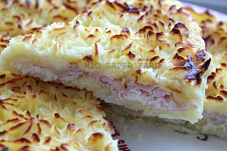 torta di patate, prosciutto e mozzarella