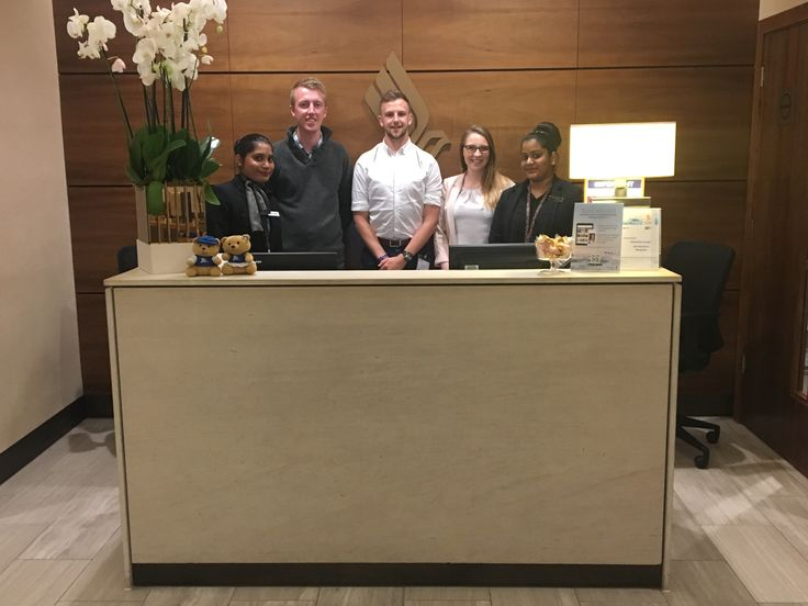 The welcome desk at Singapore Airlines Lounge, London Heathrow Airport.