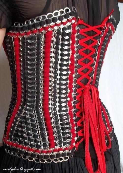 "A pop can tab corset - I wonder if a similar design could be used to make ""chain mail"" for armor costumes?"