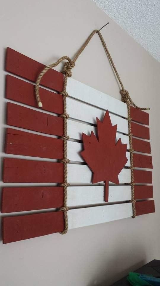 2x4 foot Canadian Flag made from 2 Wooden Pallets.