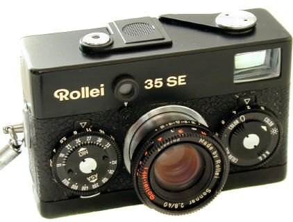 Rollei35SE1.  A classic 35mm submini camera. A pain to operate and shoot for beginners. Helps if you are clairvoyant...