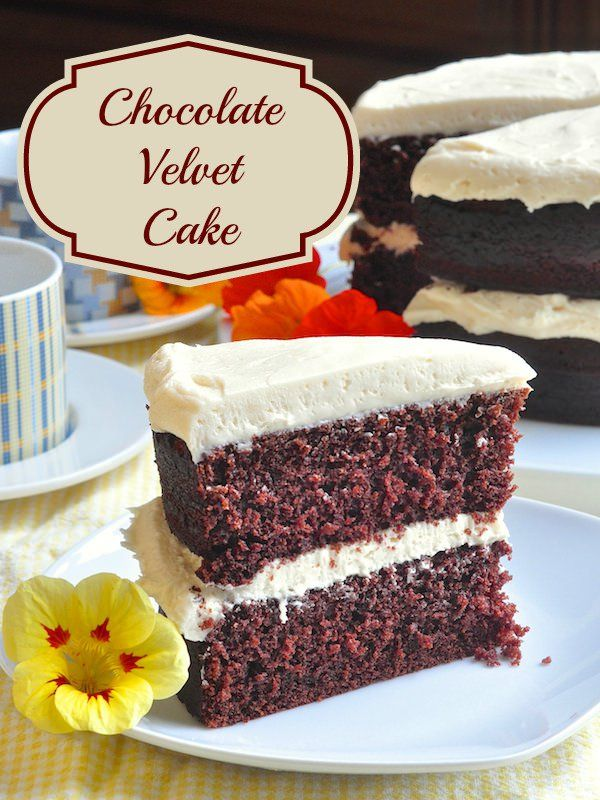 This chocolate velvet cake has the ideal balance of moistness while maintaining a light textured crumb structure. A perfect go-to chocolate cake recipe.