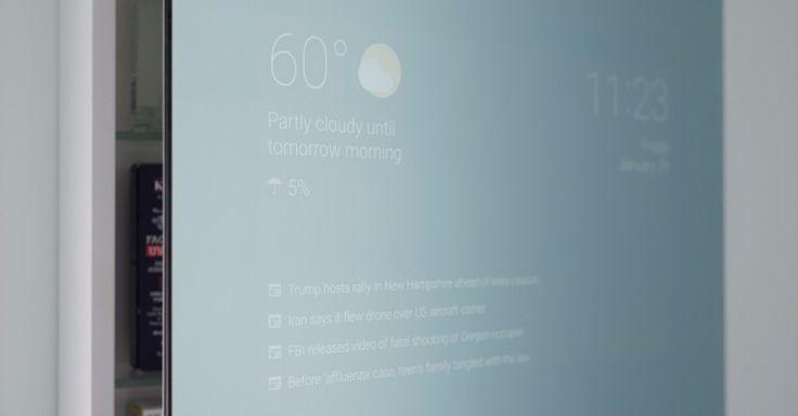 """Mit diesem Spiegel seid ihr bei der Morgenwäsche gleich up to date – sowohl was das Weltgeschehen angeht, als auch dasWetter. Der smarte Spiegel, oder """"Smart Mirror"""", von Google-Entwickler Max Braun läuft auf Android und einem günstigen Amazon Fire Stick."""