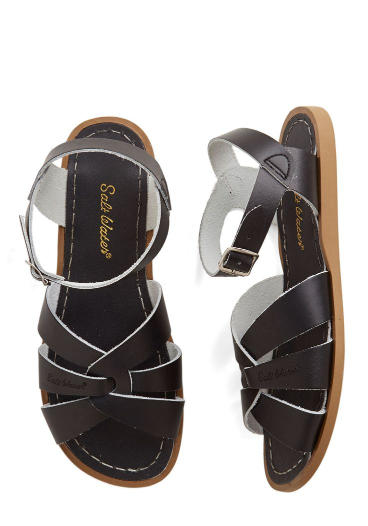 Salt Water Outer Bank on It Sandal in Black. A sunny reception from your friends is a shore thing when you come dancing across the dunes in these stunning shoes by Salt Water Sandals! #black #modcloth