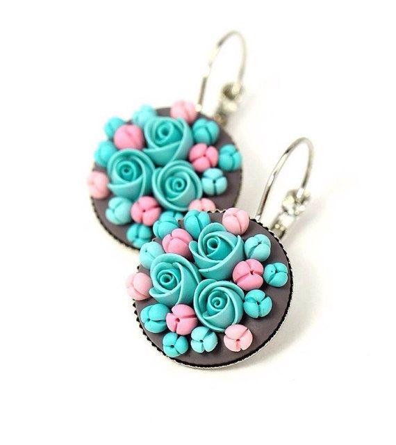 Mint Pink Floral Earrings with Swarowski Crystals by KittenUmka