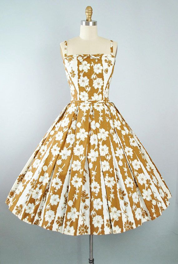 Beautiful golden and white flower dress from the 50's