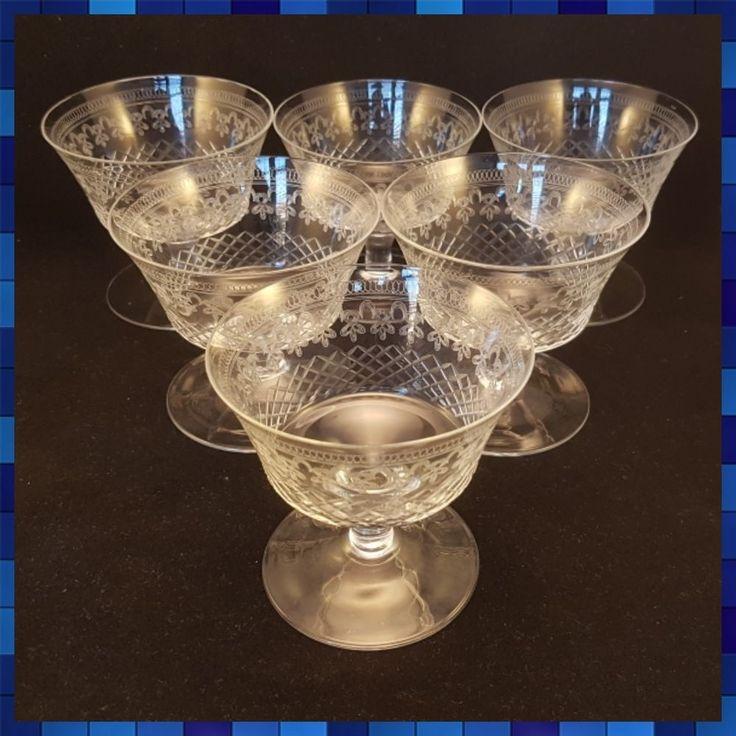 Set Of 6 Pall Mall Lady Hamilton dessert/sorbet glass saucers/bowls/coupes