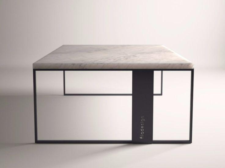 Tavolino in marmo di Carrara da salotto QUADRO by FILODESIGN di Michela Gerlo