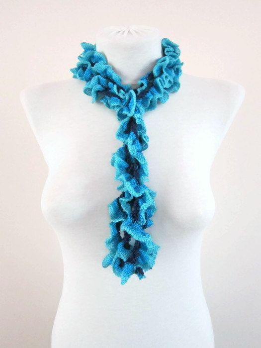 Crochet Scarf Fall Fashion Frilly scarf Ruffled by scarfnurlu