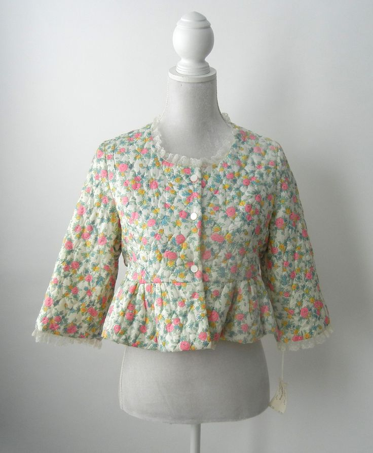 Vintage 1950s Floral Quilted Bed Jacket, Medium