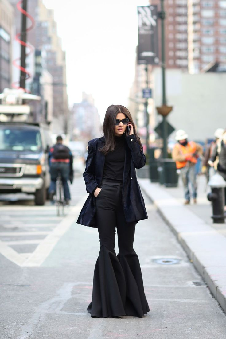 Lessons In Layering From The Streets Of New York City #refinery29  http://www.refinery29.com/2016/02/103173/ny-fashion-week-fall-winter-2016-street-style-pictures#slide-19  Oh, and those bell-bottom pants? Ding, ding, ding....