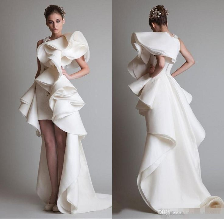 Awesome Fashion Krikor Jabotian Wedding Dresses Appliques Lace Crew Neck Bridal Gowns Short Front And Long Back