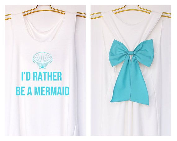 I'd rather be a mermaid Disney Princess Premium with Bow : Bride Shirt - Bridesmaid Shirt - Wedding Shirts - Tank Top - Bride team - Tank