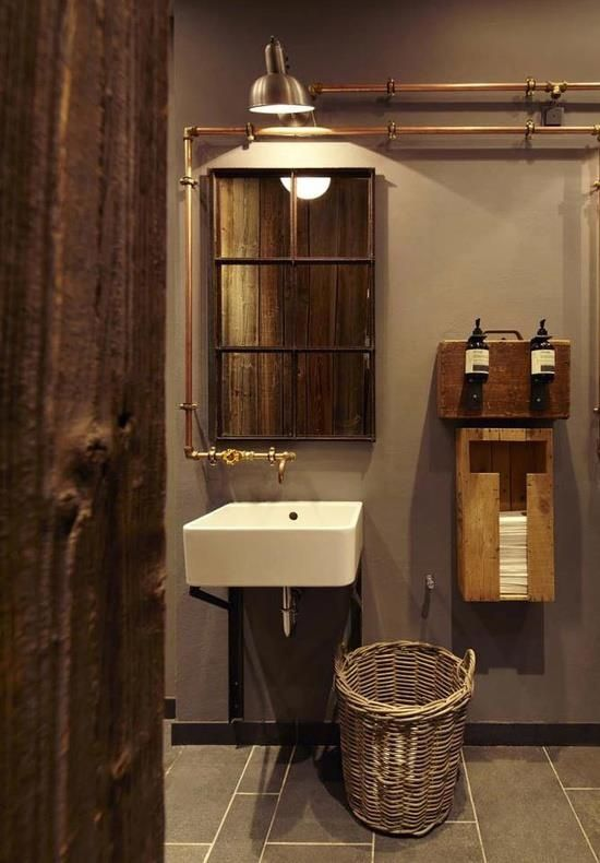 wc design lighting mirror pipe floor wall copper. Interior Design Ideas. Home Design Ideas