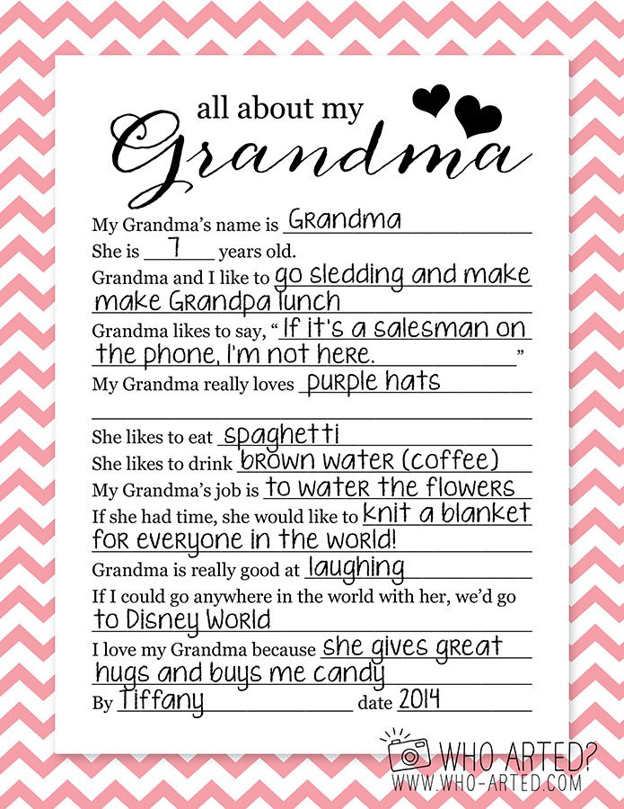 My Grandma Sayings: Mother's Day Questionnaire Grandma Who Arted 02