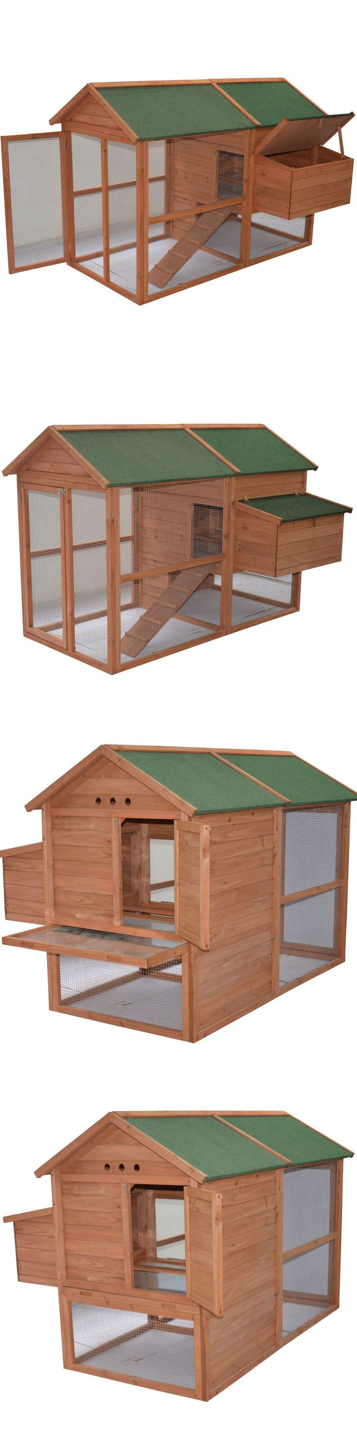 Backyard Poultry Supplies 177801: Backyard Wooden Chicken Coop Rabbit Hutch Cage Habitat Outdoor Run Pet Supplies BUY IT NOW ONLY: $398.34
