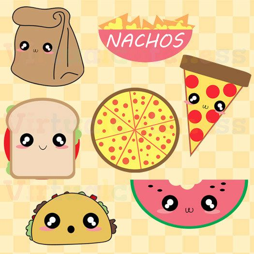 Lunch Clipart - Food Clip Art Pizza Tacos Nachos Paper Bag Pizza Clipart Planner Kawaii Chibi Fun Free Commercial and Personal Use (3.25 USD) by Virtualcuteness