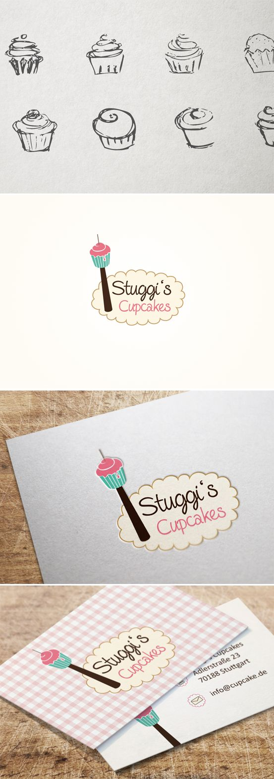 Für Stuggi's Cupcakes, einem Start-Up, entwickelte Smoco das Logo und die Visitenkarten. | #design #logo #skytower #fernsehturm #cupcake #bake  #visitenkarte  #business card #stuttgart #Germany | made with love in Stuttgart by www.smoco.de
