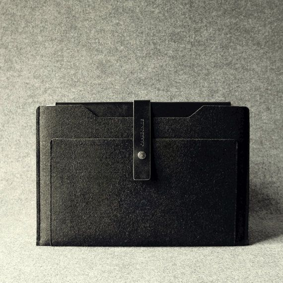 Leather  Wool Felt Retina MacBook Pro Sleeve by Charbonize