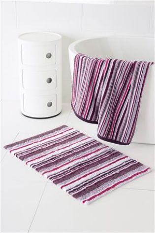 Plum stripe towel and bath mat from Next mycosyhome