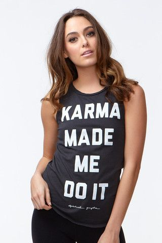 Modern Yoga Clothing: KARMA MADE ME WOMEN'S MUSCLE TEE FADED BLACK