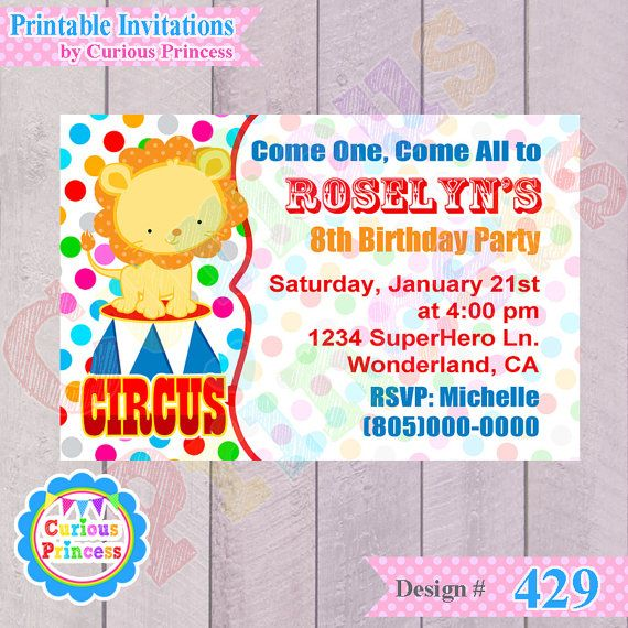 Printable Birthday Party Invitation Card Detroit Lions: 429 Circus Carnival Invitations Boy Girl By