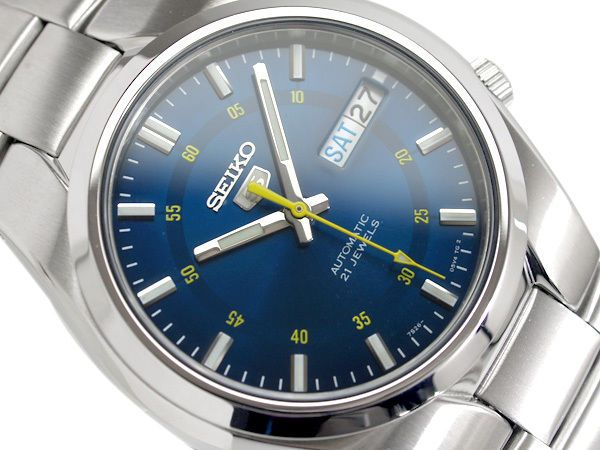 Pearlescent blue dial with contrasting yellow minute markers on inside of dial face, yellow seconds hand. Automatic watches only continue to work for a maximum of around 36 hours when fully wound. Seiko 5 Automatic Gents Watch SNK615K1. | eBay!