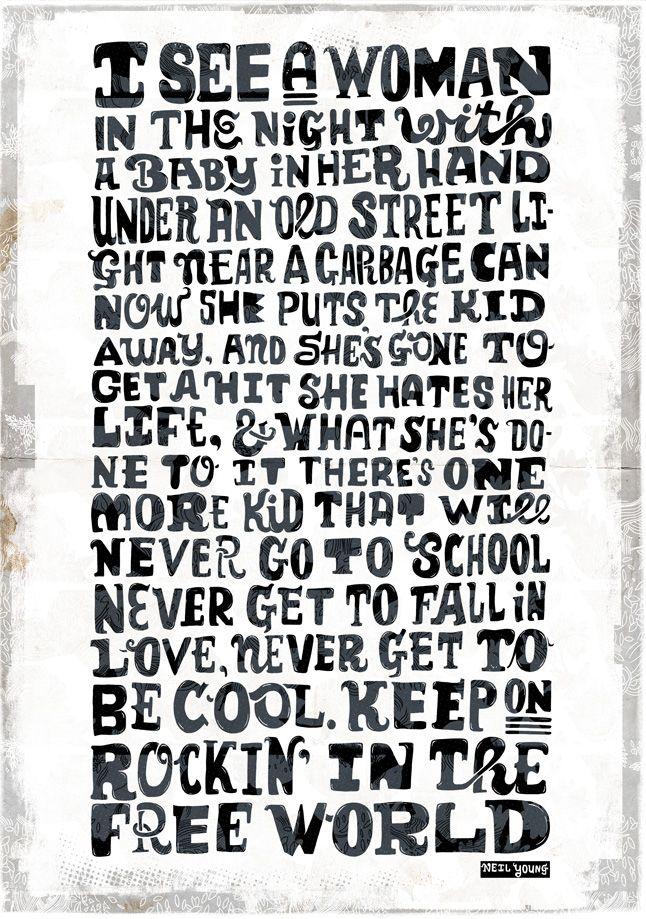 rockin in the free world lyric typography from #rudidewet