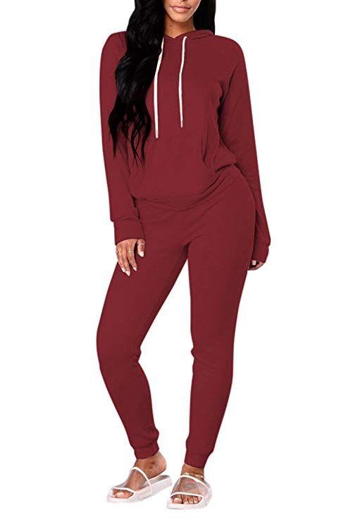 bd20db0a4191 Fixmatti Women 2PCS Front Pocket Hooded Top Sweatpants Sport Tracksuit at Amazon  Women's Clothing store: