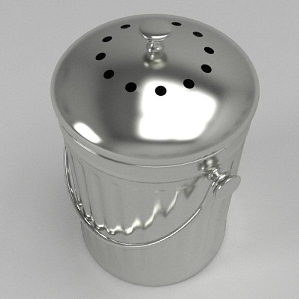 small kitchen compost bin 3d model a small stainless steel type compost bin with carry handle typically used in a kitchen this is a detailed model which