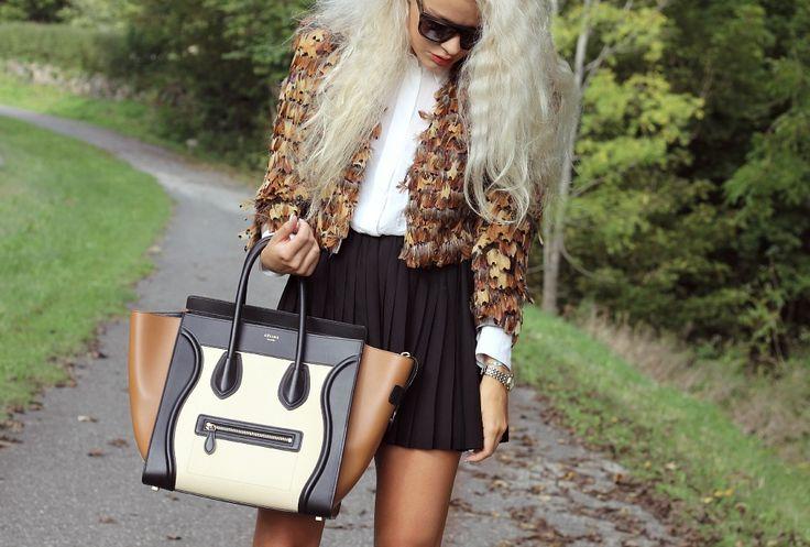 Fall outfit #celine #bag #miniluggage #luggage #alexanderwang #sunnies #aw #feather #trio
