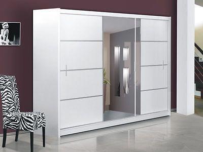 Modern Design Quality sliding door wardrobe with mirror VISTA WHITE in Home, Furniture & DIY, Furniture, Wardrobes | eBay