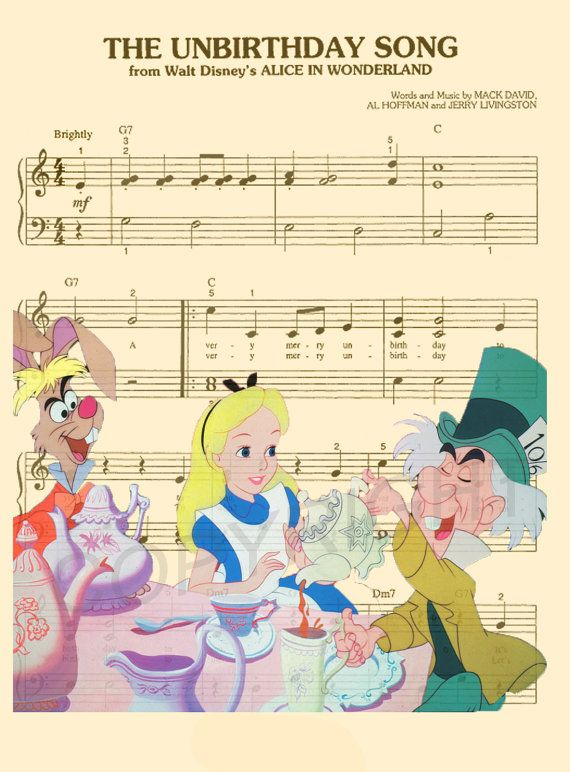 Art Print Alice In Wonderland Disney Music By Amourprints