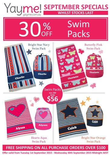 ☆ SIZZLING SEPTEMBER SPECIALS  ☆  Fantastic saving on our Swim Packs.  Taking pre-orders NOW, don't miss out...email christinen@yayme.com.au to place your order.