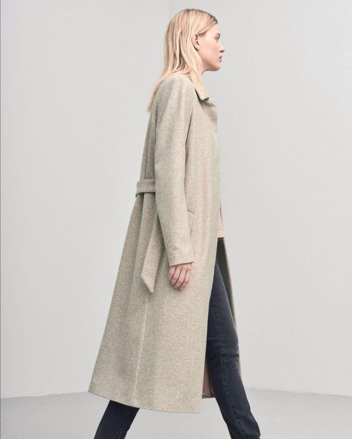 Abrigo largo de lana Nougat Iza