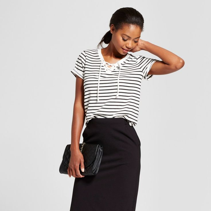 Women's Striped Short Sleeve Lace Up Tee - Merona White Black Stripe Xxl, Ivory