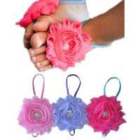 Baby Barefoot Sandal 3 Pairs - Flower with Diamante Footsies