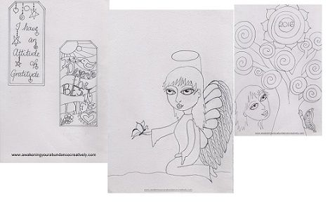 Free colouring in pages/bookmarks http://awakeningyourcreativeabundance.com