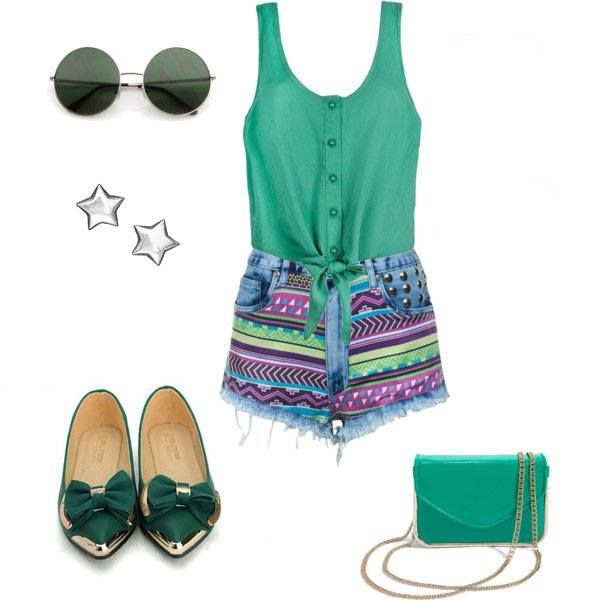 Green summer outfit made by broshka.pl  Flats by Broshka.pl Sunglasses - H&M Bag - Sisley Top and shorts - River Island