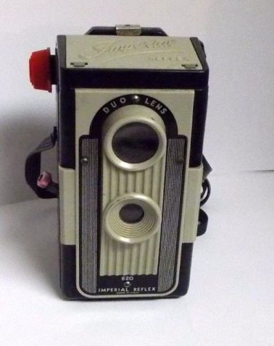 The Imperial Reflex 620 duo lens was a simple plastic box ,medium format camera made by the Imperial Camera Co. Chicago, in the late 19 50s. It used Type 620 format film. The styling is of a twin-lens reflex camera, but the camera is a well-made fixed-focus box camera. | eBay!