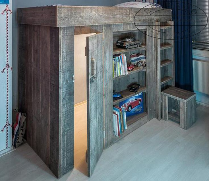 mooie hoogslaper van steigerhout! Ook leuk als speel hut  )   Steiger wood high bed   Pinterest