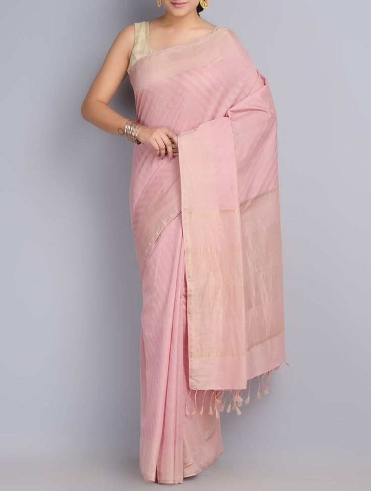 Buy Dull Pink Silk Cotton Zari Handwoven Saree Sarees Woven The Atelier & Stoles Online at Jaypore.com
