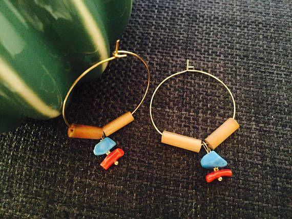 Créoles turquoise et corail, bois, goldfilled
